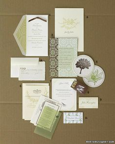 Brown-and-Green Invitation    Use this gentle, evocative color combination on your invitations to give guests a taste of the rustic celebration to come, then repeat the colors to personalize other paper pieces and carry the theme throughout. Every element here combines the two hues in ink or, more unexpectedly, in decorative accents, such as envelope liners and ribbon.