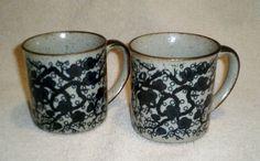 Set of 2 Unique Primitive Stoneware Mugs