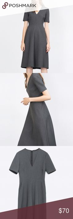 "Zara Gray Flared Dress New with tags - measures 45"" long 14.5"" across waist Zara Dresses"