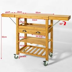 SoBuy Servierwagen aus hochwertigem Bambus,Küchenwagen,Küchenregal, Rollwagen ,B65 (95/125)xT40xH92cm, FKW25-N: Amazon.de: Küche & Haushalt