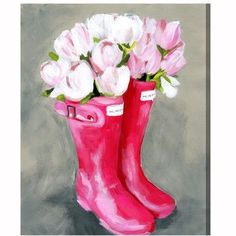 House of Hampton Tulips & Rainboots Painting Print on Wrapped Canvas Size: