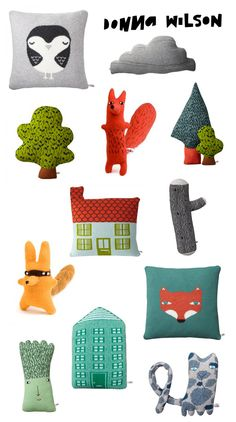 Amazing quirky characters and cushions by Donna Wilson! Diy Bebe, Fabric Toys, Cute Pillows, Soft Sculpture, Sewing For Kids, Handmade Toys, Gifts For Kids, Art For Kids, Kids Room