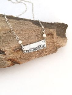 Unique Silver Bar Necklace  Beach Jewelry  by AriesArtisticJewelry