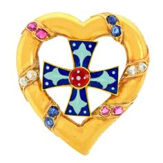 """Antique French Gothic Revival Brooch. Circa 1880s, 18k, France. Colorful, compelling, charming and """"oh so Joan of Arc chic,"""" this aesthetic revival brooch is a stylishly au courant antique. Finely fashioned in 18k gold, cunningly enameled and set with sapphires, rubies and diamonds, it is a lovely and wearable example of 19th century French jewelry."""