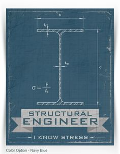 structural engineer: i know stress print - modern, funny on Etsy, $18.00 typography career poster