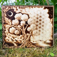 Tree Of Life / Flower Of Life wood-burned painting wooden