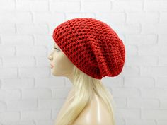 Red Slouchy Beanie, Slouchy Winter Hat, Red Vegan Hat, Oversized Hat, Crochet Beanie, Slouch Hat, Hipster Hat, Womens Hat, Winter Beanie by trickystitchcrochet on Etsy https://www.etsy.com/listing/231302879/red-slouchy-beanie-slouchy-winter-hat