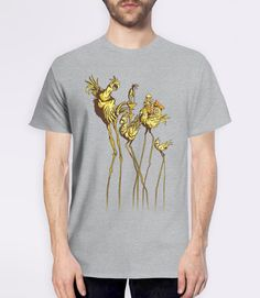 Dali Chocobos | Video Game Art T-Shirt with Final Fantasy 7 Chocobos in the surrealist art style of Salvador Dali. Pictured: Grey Mens Tee Shirt
