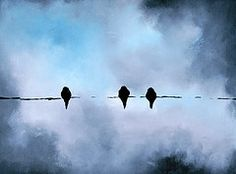 Birds on a wire (Nature and Art) Tags: winter abstract art birds wall modern painting wire gray stormy oil valentines lovebirds raven blackbirds