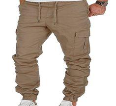 KLJR Men Sport Multi-Pockets Drawstring Solid Cargo Jogger Pants