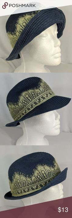 """Jessica Simpson Trilby Paper Straw Hat One Size Adorable tribly hat. Similar to a fedora. Paper straw is soft and comfy. There's a loose thread spot on back of brim as pictured. Very clean and smoke free. 7"""" diameter.  Excellent condition other than loose thread in back. Smoke free. Jessica Simpson Accessories Hats"""