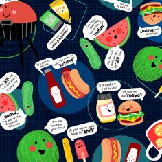 Friendly Barbecue (small size) fabric by sarah_treu on Spoonflower - custom fabric