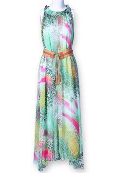 Green Sleeveless Leopard Print Belt Silk Dress