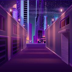 Night city empty side street cartoon vector image on VectorStock Night Illustration, Landscape Illustration, Led Street Lights, Brick Wall Background, Outdoor Garden Lighting, Ale, Night City, Futuristic City, Light Trails