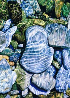 Irina Garmashova-Cawton : Sun Trapped under Water. Pencils: Karisma colour pencils and Neocolor II Paper: Arches hot press 300gsm 38 x 54cm  I was fascinated by the beautiful colours of wet pebbles and wanted to show the effect on them of being under water which was a big challenge to me.