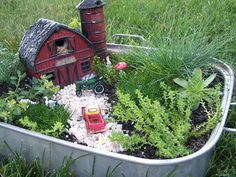 Fairy garden - Garden Junk Forum - GardenWeb--Okay, now I need a barn.  I think a farm=themed garden would be cute, esp. given I live in a rural area.  Could add it to my castle and cottage themed gardens.