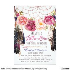 Boho Floral Dreamcatcher Watercolor First Birthday Card