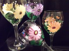 Gerber Daisy HandPainted Wine Glass by susanruth41 on Etsy, $12.00