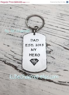 FATHERS DAY SALE Hand Stamped Dad Key Chain Daddy by ILLBECHARMED