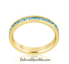 Gail Aqua Blue Eternity Stackable Ring | 1 Carat | Crystal | 18k Gold » Beloved Sparkles | Fine Cubic Zirconia Jewelry | Crystal Hair Accessories