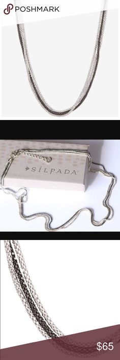 """Silpada chain reaction necklace Stamped 925 Italian made silver 3 strand necklace!!! 2 strands are silver tone one is black, 20"""" long with a 2"""" extender. Silpada Jewelry Necklaces"""