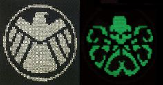 S.H.I.E.L.D. Hail Hydra (via Stitchnanigans/Etsy) -- Made with white cotton thread and glow in the dark thread so that the Hydra logo shows up in the dark. GENIUS.