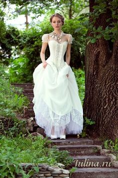 corset and cap sleeves wedding dress for steampunk wedding