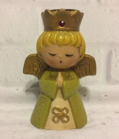 Vintage Christmas Angel Candle Holder Ardco Fine Quality Dallas Green Small