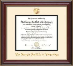georgia tech diploma frame cherry lacquer seal cream on black professional framing - Wvu Diploma Frame
