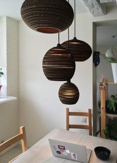 Cardboard Lights Set-Scrap Lights Set-Pendant Lights Lamp Design, Lighting Design, Cardboard Chandelier, Dining Room Lighting, Pendant Lights, Light Decorations, Light Fixtures, Diy Lantern, Recycled Products