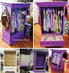 Transform old dresser into playtime dress-up wardrobe