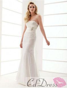 Trumpet/Mermaid Strapless Floor-length Elastic Woven Satin Wedding Dress from CDdress.com