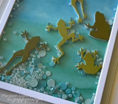 Poppy Stamps Pond Frogs. I water colored my base layer, added a layer of Fun Foam( from any craft store) with each pond frog, or you could cut 3 layers for each frog. I just love these little guys! Perfect for someone with a Leap Year birthday. Here is a sample of the layers I cut out using the :Create Beautiful Dies from memory box . I cut two layers...