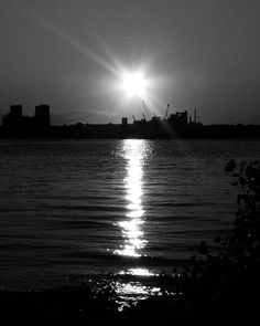 8x10 Black and White Print Sunset Over A Shipyard by PelliculArt