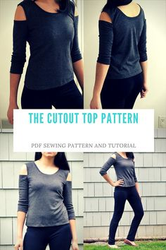 The Cold Shoulder Knit Top PDF printable sewing Pattern and