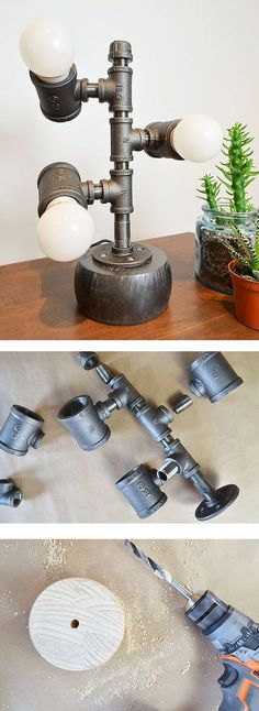 In this pipe fitting project, Sam Raimondi of DIY Huntress shows us how she modified a pipe wine rack kit to be an awesome pipe lamp. See it on The Home Depot Blog. || @diyhuntress