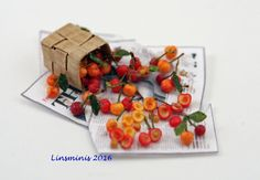 12th Scale Miniature ** Pitting Cherries **...IGMA Fellow #Linsminis