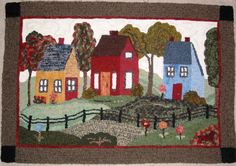 Little Town Rug Pattern from Searsport Rug Hooking my first rug. Hooked & photographed by Michele Nelson