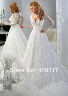 New 2014 High fashion Long Sleeve Lace Sexy Backless Plus size Ball gown Wedding dresses for Pregnant US $198.00