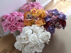 Lots of fabric roses, ready for Pretty Pastels Open Day. Handmade by Pretty Pastels, that's me!