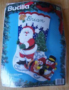NIP Bucilla Felt Christmas Stocking Kit #83116 Santa & Snow Babies Retired 1994 #Bucilla