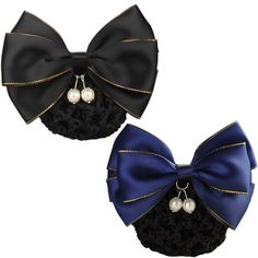 LiveZone (Pack of 2 Pcs) Women Professional Hair Bun Cover Net Snood Hairnet Bowknot Decor Barrette Hair Clip Bow Lace Flower Hair Accessories ,2 Colors-Black and Blue ** Details can be found by clicking on the image.