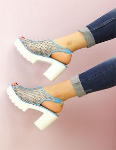 Fileli Buz Mavi Sandalet Günlük Ayakkabı | Ayakkabı | Modabenle
