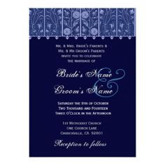 Elegant Midnight Damask Wedding Invitation