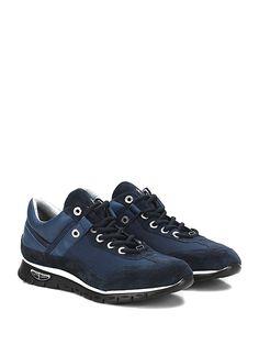 PACIOTTI 4US - Sneakers - Uomo - Sneaker in camoscio, pelle e tessuto tecnico con logo su lato esterno e suola in gomma extra light. Tacco 30, platform 20 con battuta 10. - BLUE