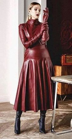 Thigh High Boots Heels, Heeled Boots, Leather Gloves, Red Leather, Lady In Red, Fall Outfits, How To Wear, Dominatrix, Dresses