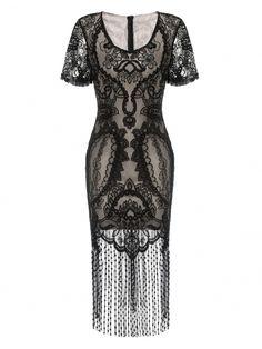Black Short Styles Flapper Dress