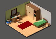 Isometric bedroom : isometric