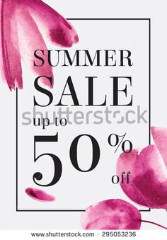 Summer sale up tu 50 per cent off. Watercolor design. Web banner or poster for e-commerce, on-line cosmetics shop, fashion & beauty shop, store.
