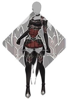 Custom outfit commission 88 by Epic-Soldier on DeviantArt Villain Costumes, Hero Costumes, Anime Costumes, Clothing Sketches, Dress Sketches, Dress Drawing, Drawing Clothes, Warrior Outfit, Anime Dress